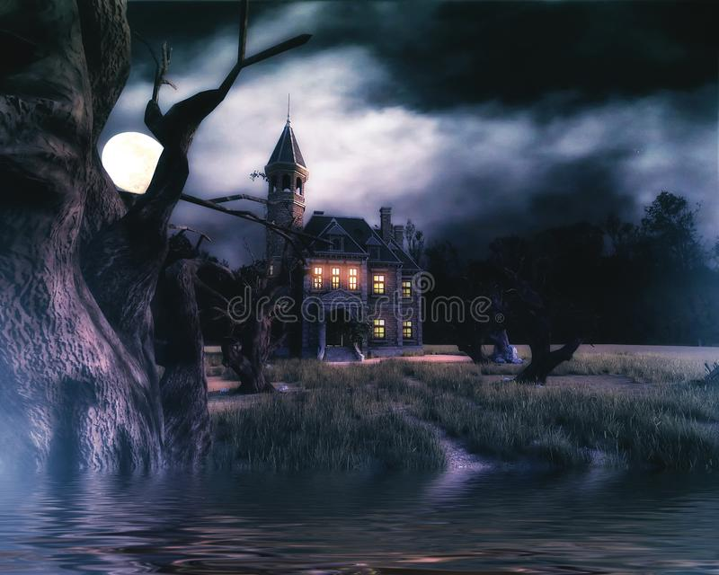 Haunted House Background with lake. 3D render of a haunted house with trees, moon and lake royalty free illustration