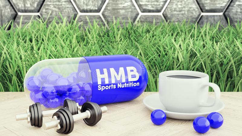 3d render of hmb big pill, Two dumbbells and a cup of coffee. Sport nutrition for bodybuilding 3d illustration royalty free stock photography