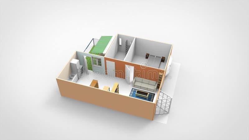 3D Render Home Design With Backyard stock illustration