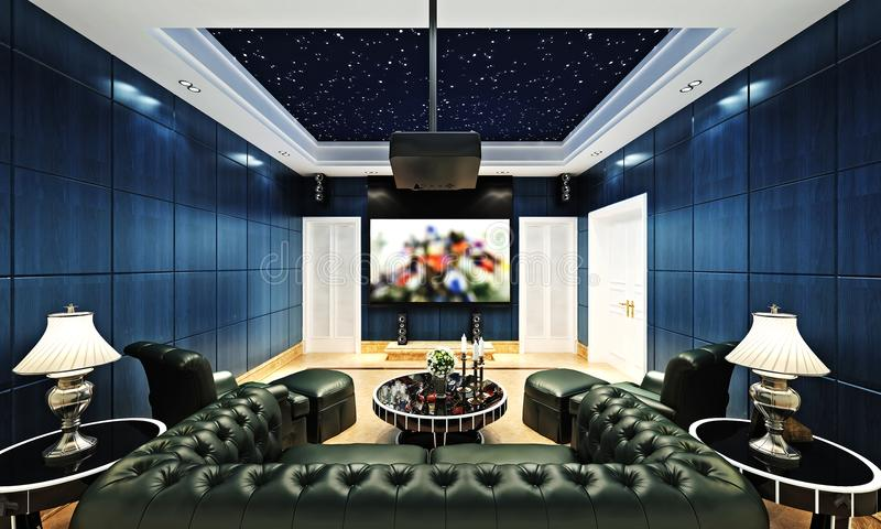 3d render of home theater stock illustration