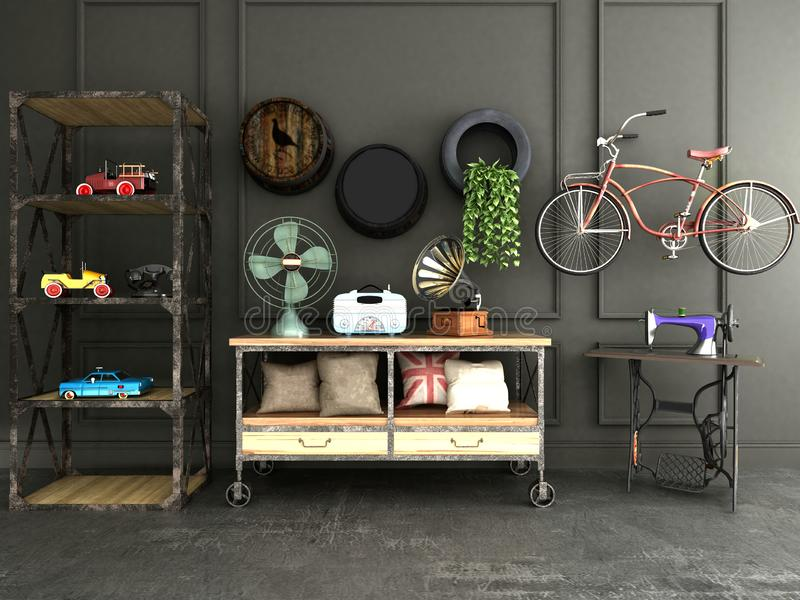3d render of house decor. Toysi radio, bicycle, table, sewing machine etc royalty free illustration