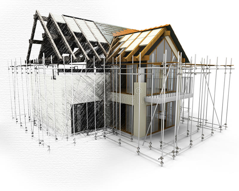 3D render of a house with scaffolding with half in sketch phase vector illustration