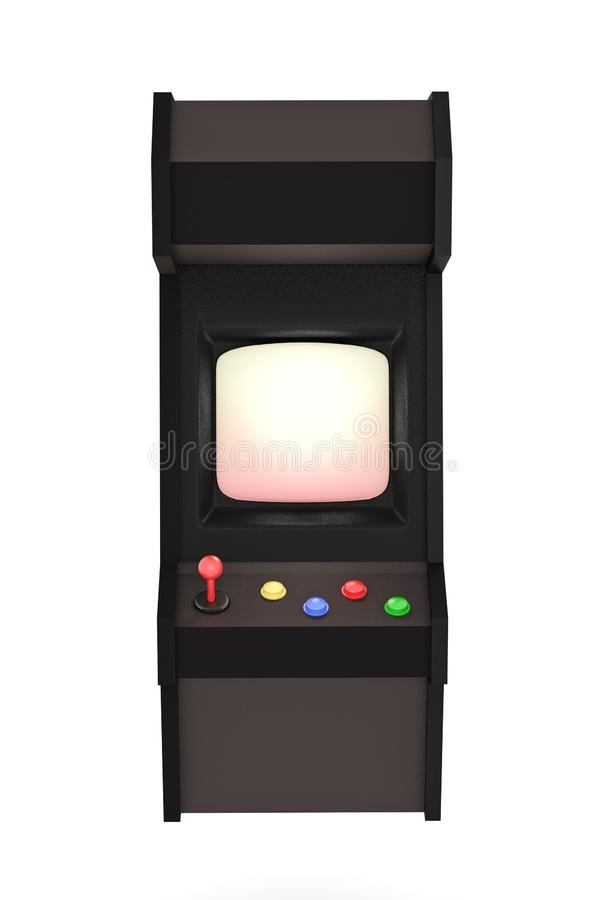 3D render Illustration. Arcade machine with joystick and push buttons stock illustration