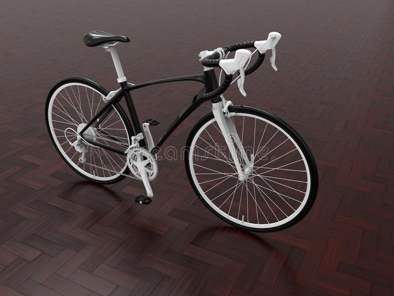 Black bicycle on wooden tiles royalty free illustration