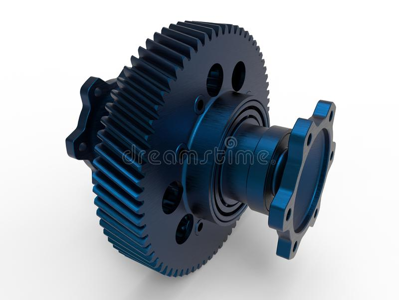Blue metallic gear and shaft. 3D render illustration of a blue metallic gear and shaft. The composition is isolated on a white background with shadows vector illustration