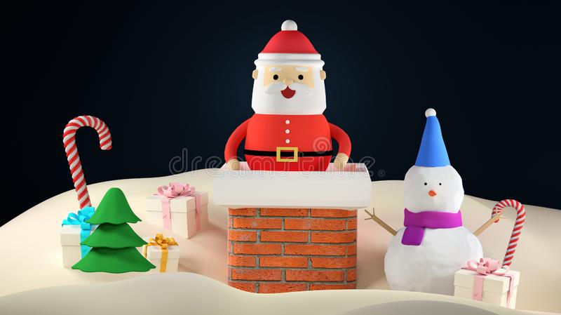 3D render Illustration. Cartoon Santa Claus in the chimney. Merry Christmas and Happy New Year greeting card. 3D render Illustration. Cartoon Santa Claus in the royalty free stock photography