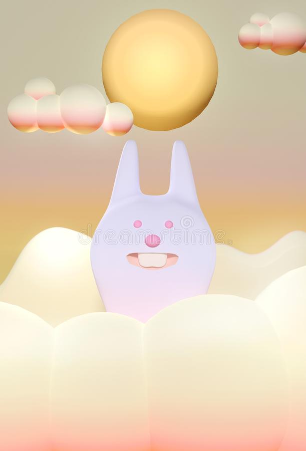 3D render Illustration. Chinese Mid Autumn Festival design. Cute rabbit under big full moon vector illustration