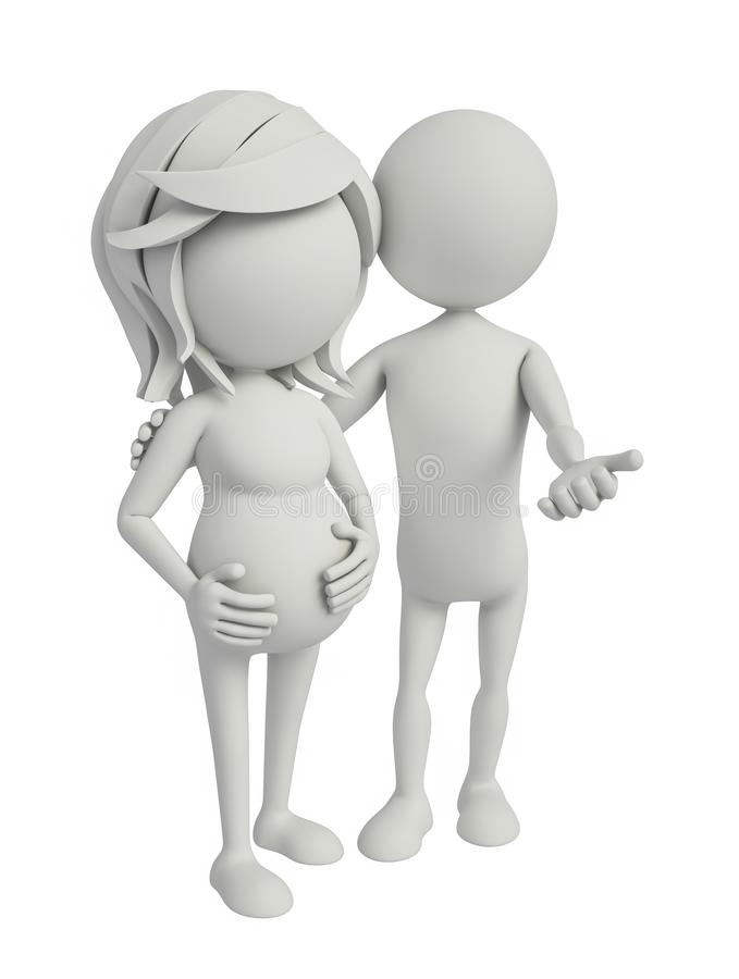 3d white character with pregnent woman stock illustration