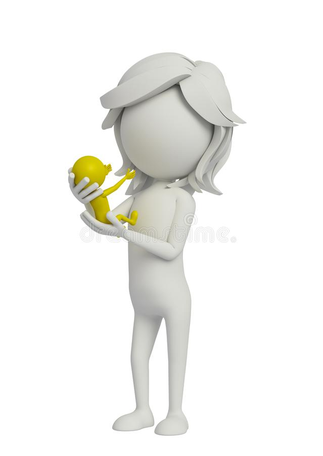 3d white woman with new born baby royalty free illustration