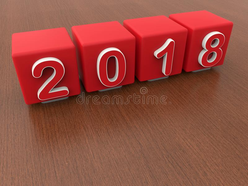 2018 year - red cubes. 3D render illustration of four red cubes representing the 2018 year. The cubes are positioned on a wooden background vector illustration