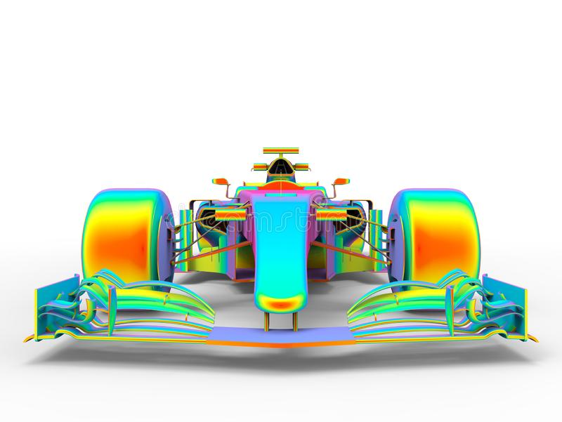 3D render - F1 racing car chassis finite element analysis stock illustration