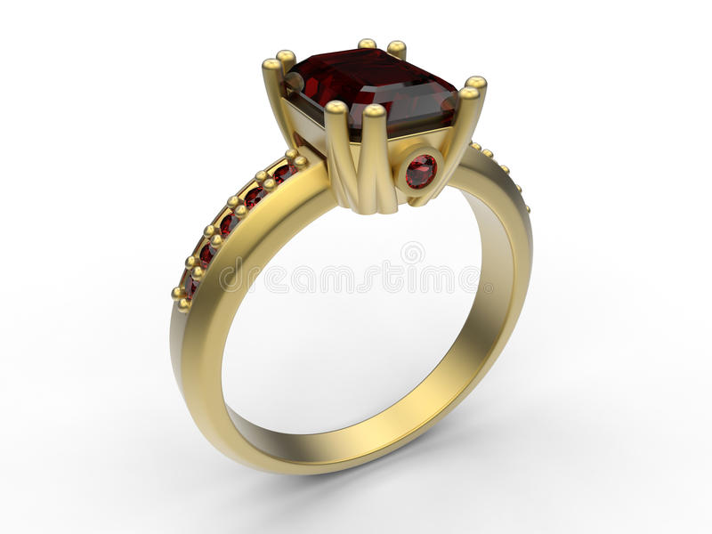 Golden majestic ruby ring. 3D render illustration of a golden majestic ruby ring. The object is on a white background with shadows royalty free illustration