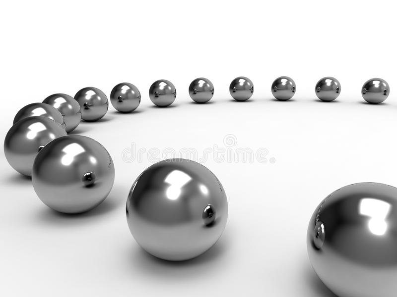 Spheres influence concept. 3D render illustration of the influence concept between different nearby elements. Each sphere is reflected within the others vector illustration