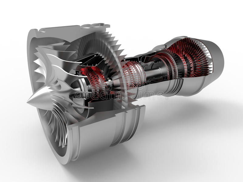 Jet engine section cut. 3D render illustration of a jet engine section cut. The jet engine is isolated on a white background with shadows stock illustration