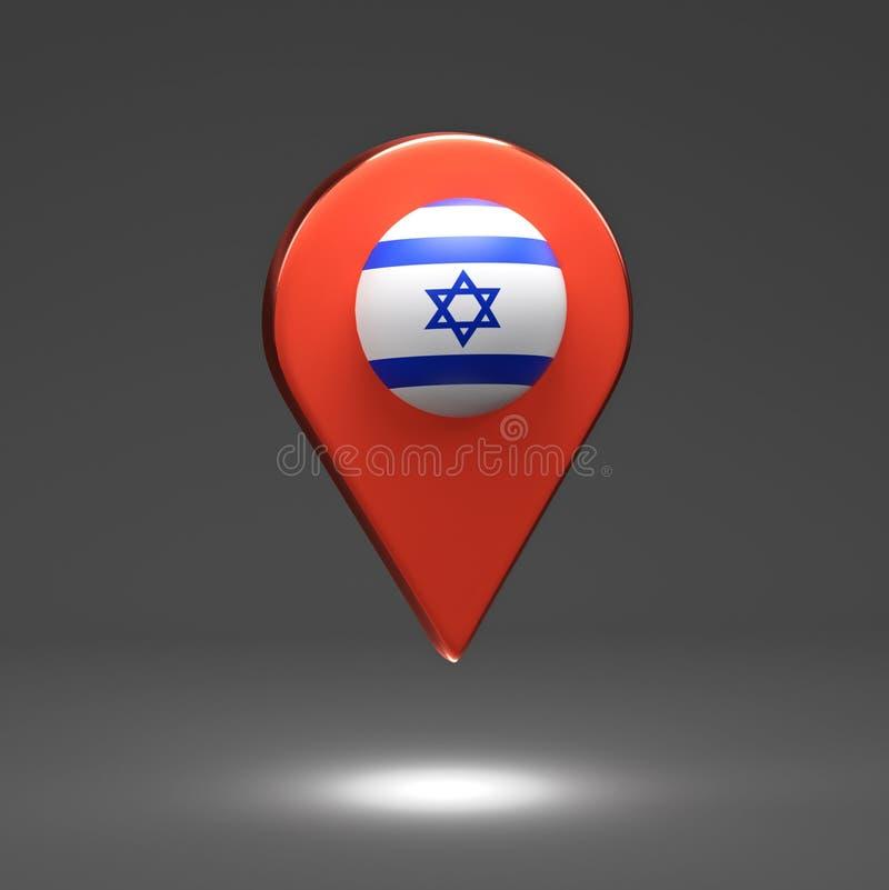 3D render Illustration. Map pointers with flag Israel royalty free illustration