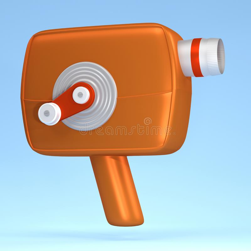 3d render Illustration. Movie-cinema camera cartoon style. 3d render Illustration. Movie-cinema camera cartoon style background concept object media film video stock illustration