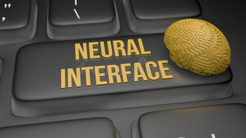 3D render illustration of neural interface concept. 3D render illustration of neural interface keyboard concept, abstract, anatomy, axon, biological, biology stock image