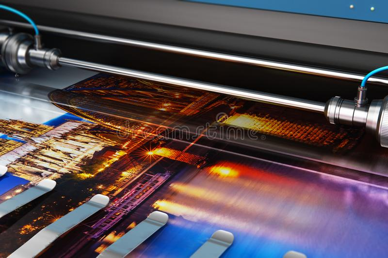Printing photo banner on large format color plotter. 3D render illustration of printing photo banner on large format color plotter in typography or print house stock illustration