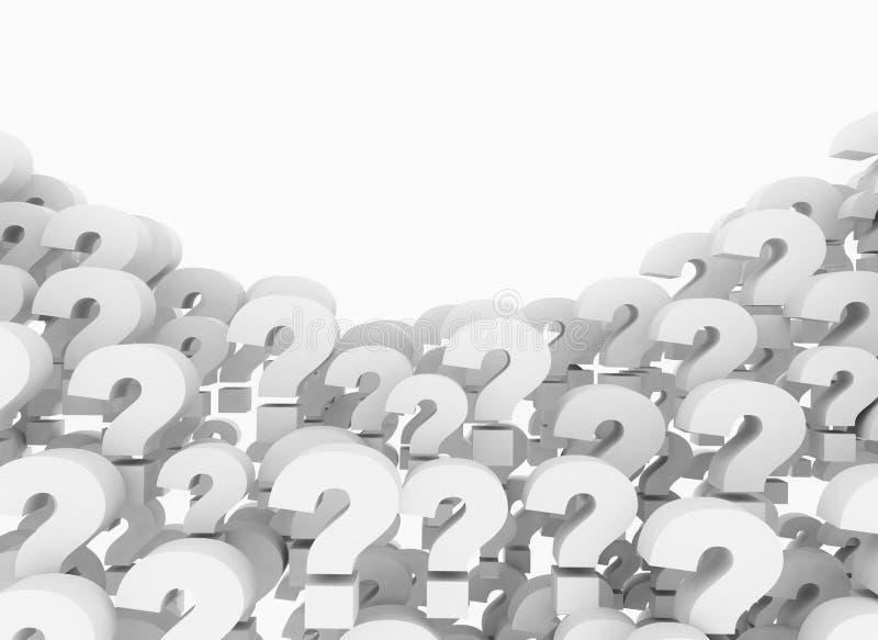 3d render illustration of question marks stock image