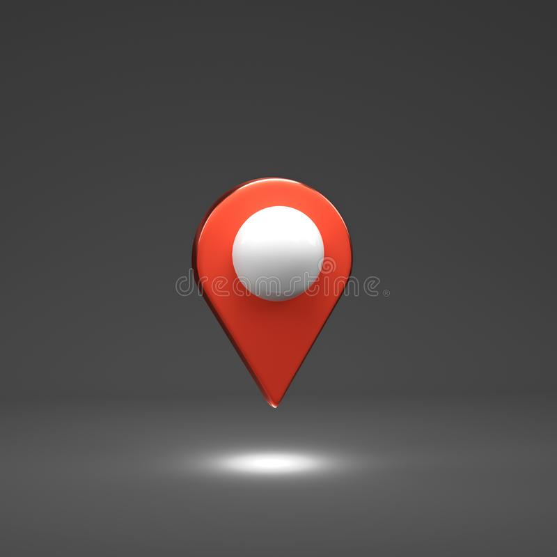 3D render Illustration. Red map pointer. Location point royalty free stock photo