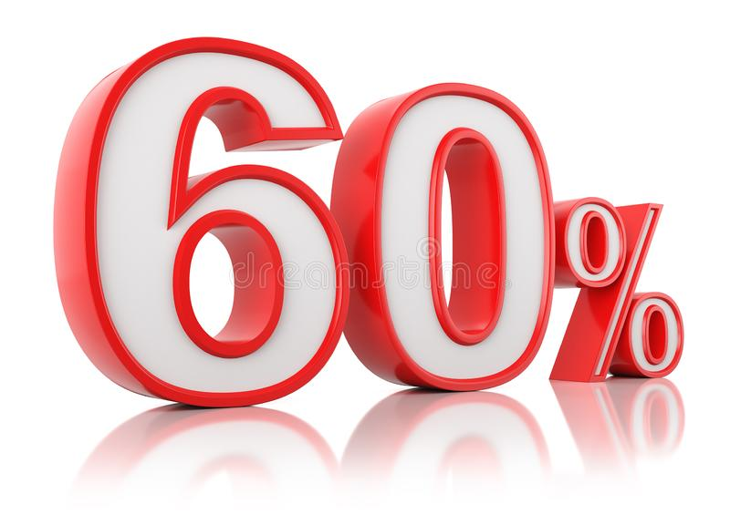 3d render illustration. Red sixty percent on a white background vector illustration