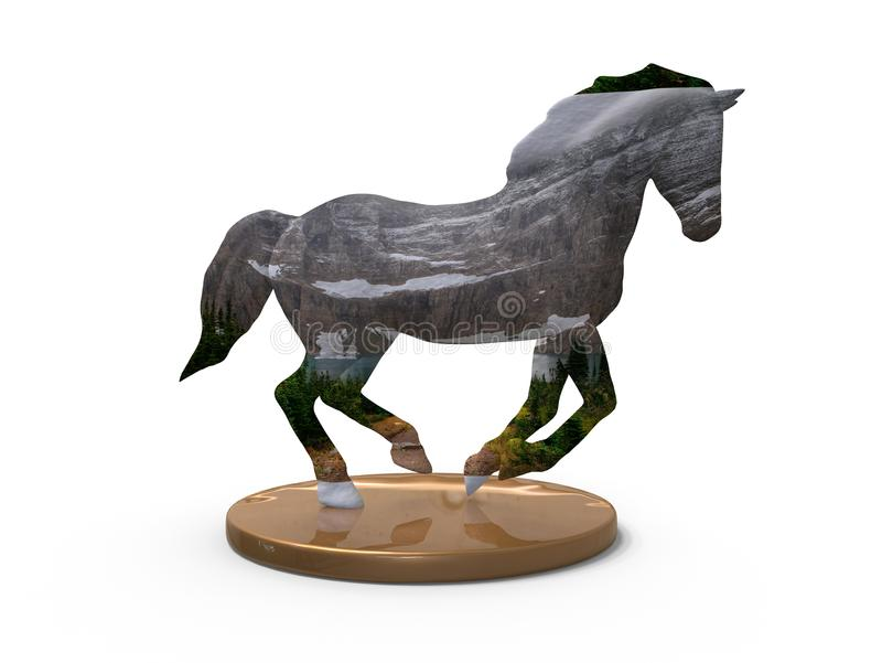 3D award - running horse. 3D render illustration of a running horse. The horse is textured with a mountain view that stretches from the top of the mountains to royalty free illustration