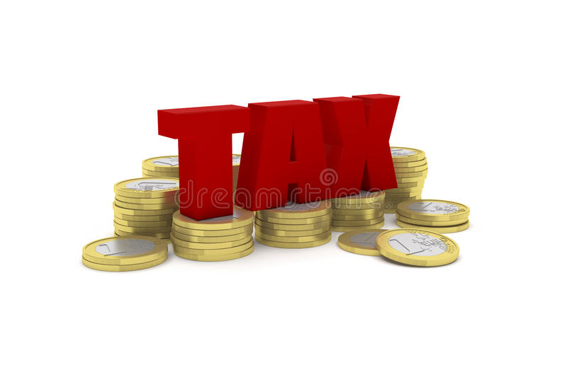 3D render illustration of several one euro coin stacks with the word TAX. Highly detailed 3D render illustration of several one euro coin stacks with the word stock illustration