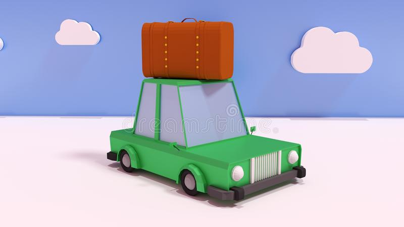 3D render Illustration. Travel concept, cartoon car with suitcase royalty free illustration