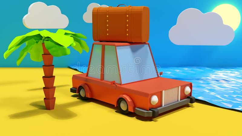 3D render Illustration. Travel concept, cartoon car with suitcase on the saside stock illustration