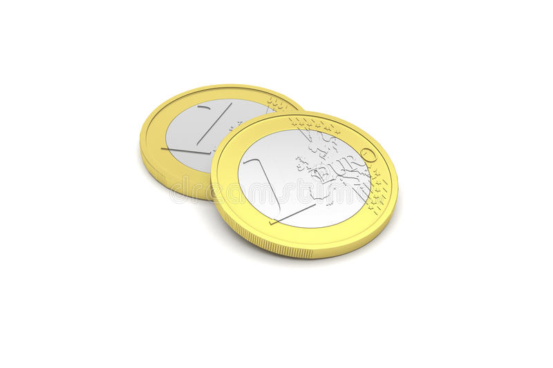 3D render illustration of two one euro coins stock image