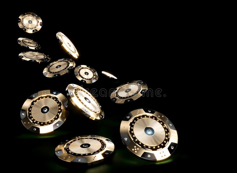 3d render image of casino chips in black and gold with diamond inserts on a dark background royalty free illustration