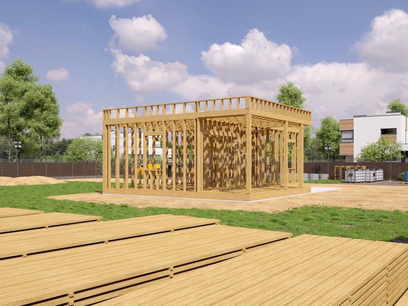 3d render image of frame house. 3D illustration of frame house. stock illustration