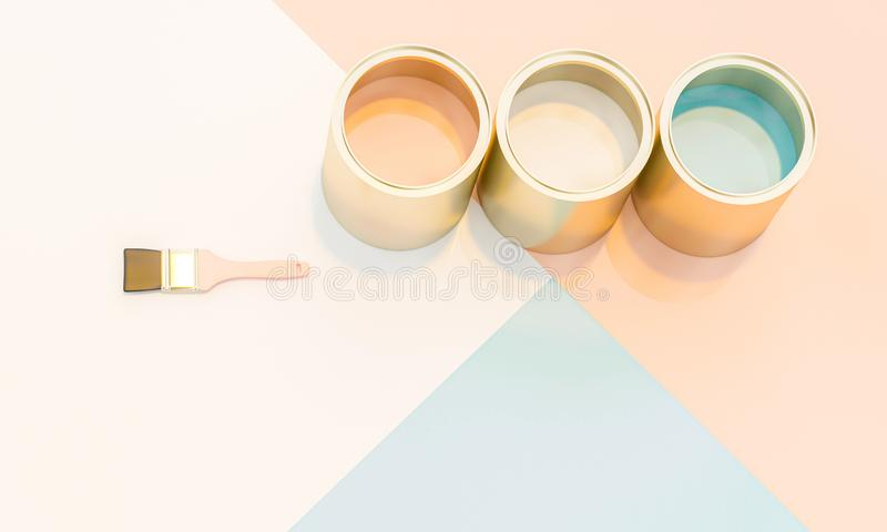 3d render image of paint cans and brushes with background in various colors vector illustration