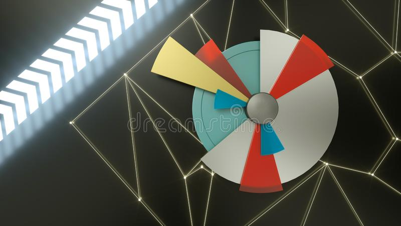 3d render of infographic circle pie chart with speed arrows on black background. Business, marketing, stock concept royalty free illustration