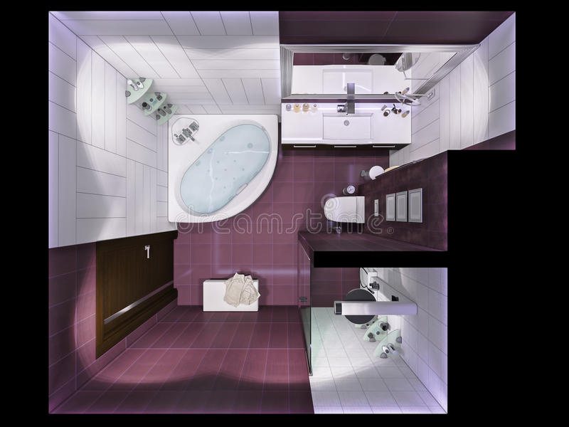3d render interior design of a bathroom in top view stock Top view of bathroom