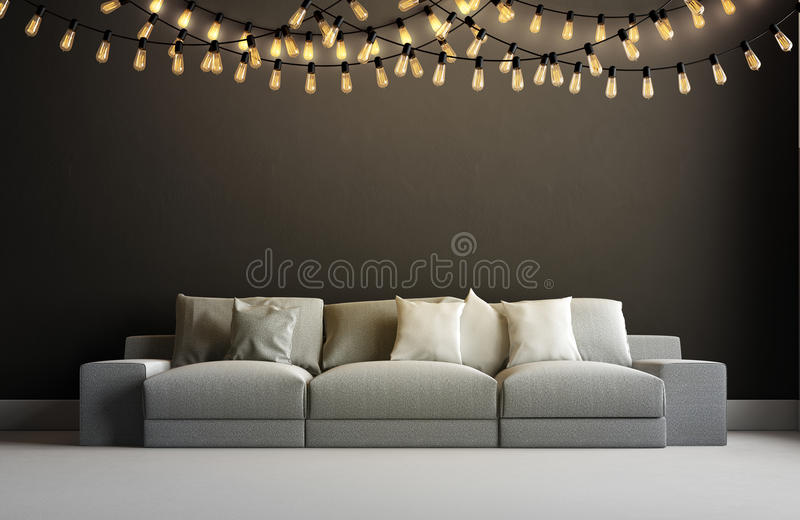 3d render of interior with garland royalty free illustration