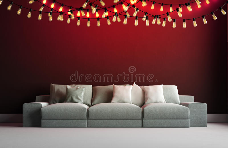 3d render of interior with garland vector illustration