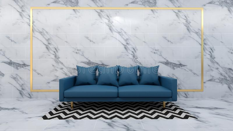 3d render of interior living room mockup stock image