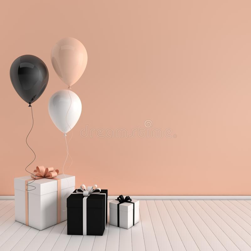 3d render interior with realistic black, white, beige balloons and gift box with bow in the room. Empty space for party, promotion vector illustration