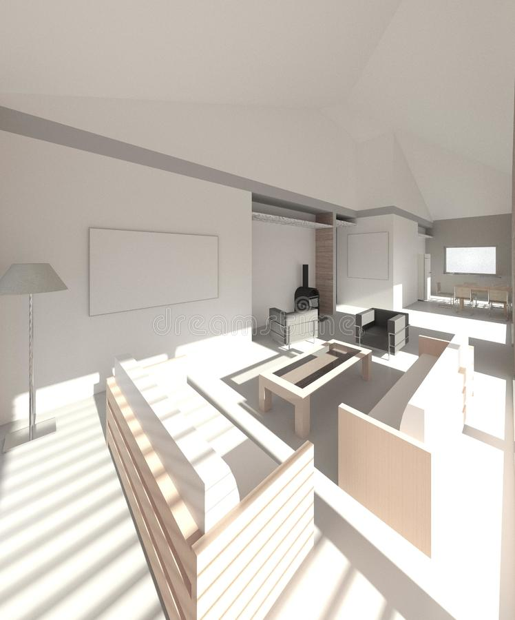 3D render: interior of the single family house. 3D render. Interior of the single family house. View to the living room, kitchen stock illustration