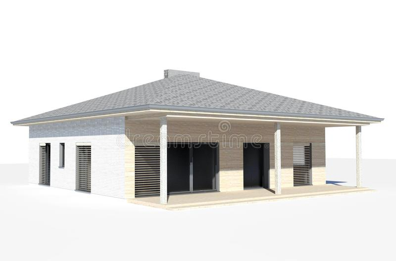 3d render - isolated visualisation of the single family house. Architectural rendering. Architectural visualisation of the modern single family house or bungalow royalty free illustration