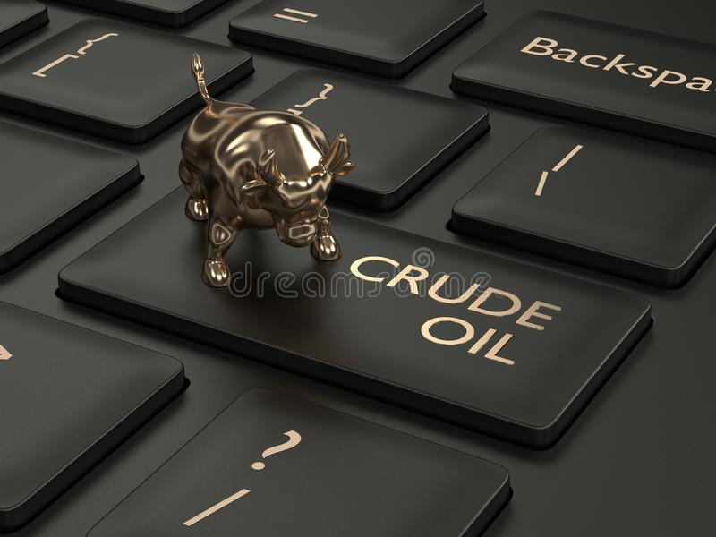 3d render of keyboard with crude oil button. And bull. The concept of bullish trend vector illustration