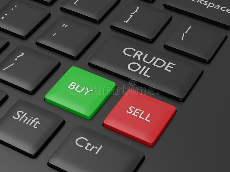 3d render of keyboard with crude oil button. The concept of investing in the stock market vector illustration