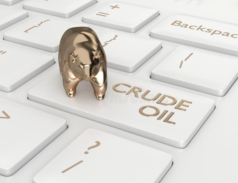 3d render of keyboard with crude oil button. And bear. The concept of bearish trend royalty free illustration