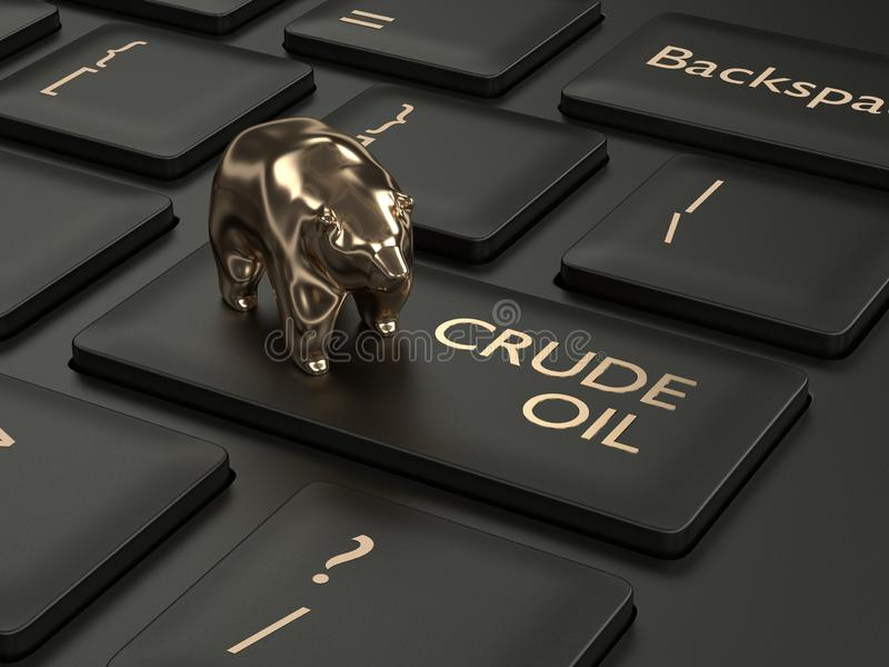 3d render of keyboard with crude oil button. And bear. The concept of bearish trend vector illustration