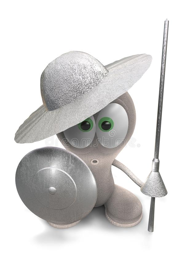 Knight. Man with a spear and a shield. Little funny man. Character. 3D render of the knight man stock illustration