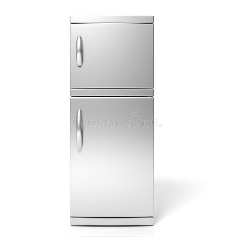 3D render of large silver refrigerator stock images