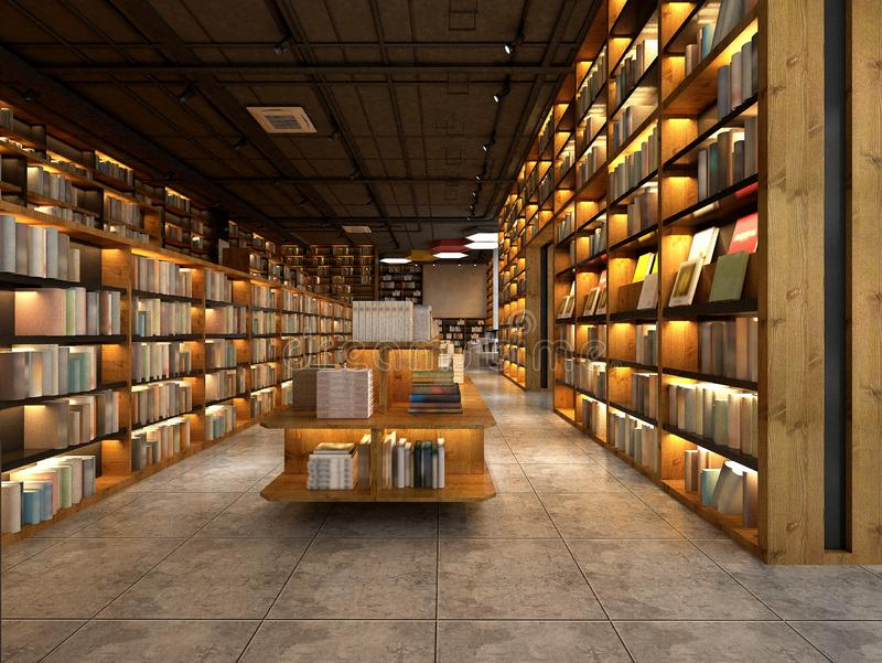 3d render library interior royalty free illustration