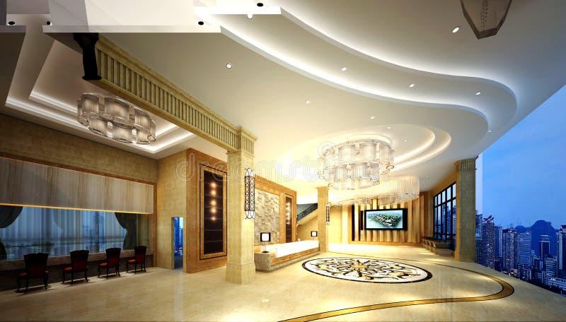 3d render of luxury hotel reception. 3d render of luxury hotel entrance lobby reception stock illustration