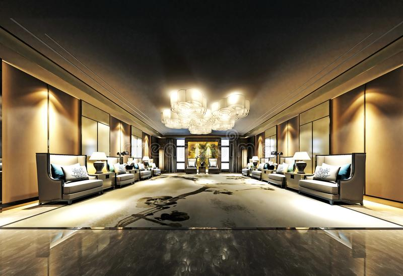 3d render of luxury hotel interior stock illustration
